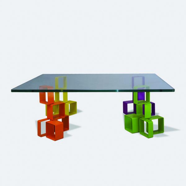 4 COULEURS - TABLE BASSE RECTANGLE PLATEAU VERRE SECURIT 4 PIEDS ÉLÉMENTS IPN PEINTS 4 COULEURS - MARQUE IPNOZE - MEUBLES EN IPN CRÉÉS PAR LIONEL PELLEGRINA
