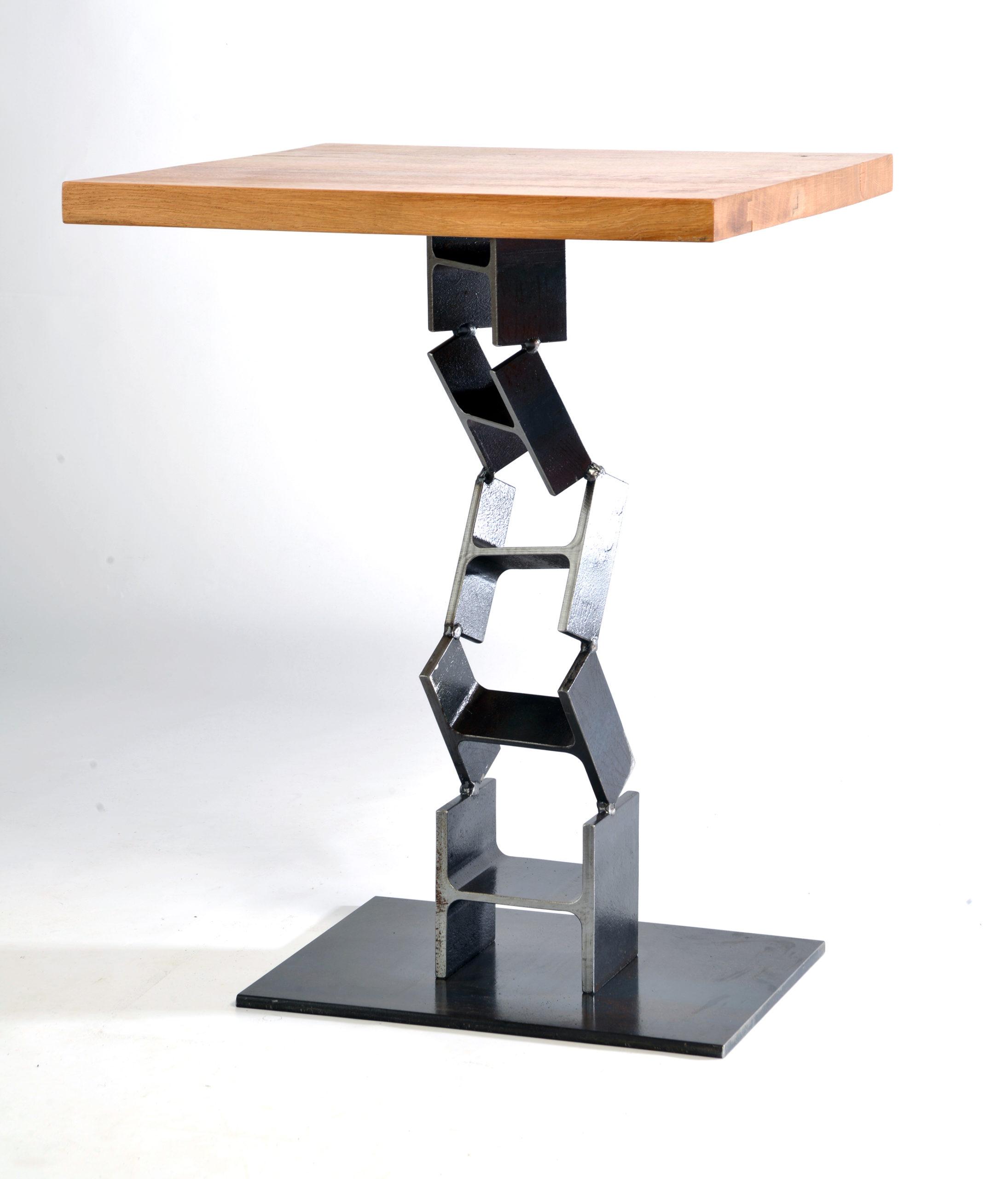 BISTROT - MANGE DEBOUT - GUÉRIDON OU TABLE HAUTE PLATEAU BOIS ET PIEDS ÉLÉMENTS IPN PERSONNALISABLE - MARQUE IPNOZE - MEUBLES EN IPN CRÉÉS PAR LIONEL PELLEGRINA