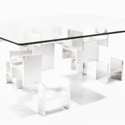 CHROME TABLE BASSE RECTANGLE VERRE PIEDS IPN CHROME