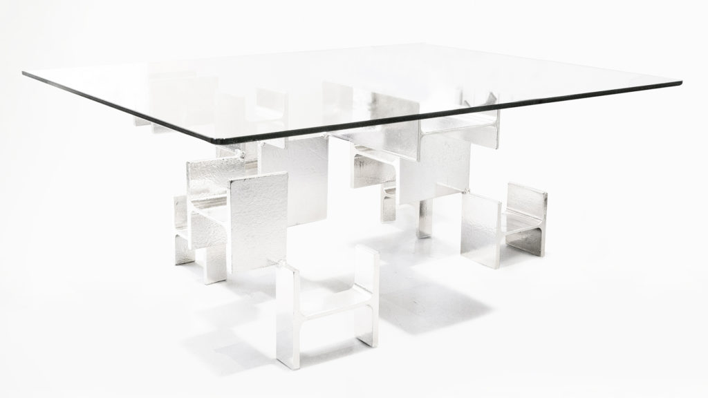 CHROME TABLE BASSE RECTANGLE VERRE PIEDS IPN CHROME