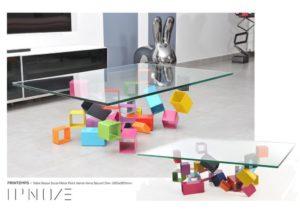 PRINTEMPS - Table basse Socle IPN metal peint vernis Plateau Verre securit - IPNOZE
