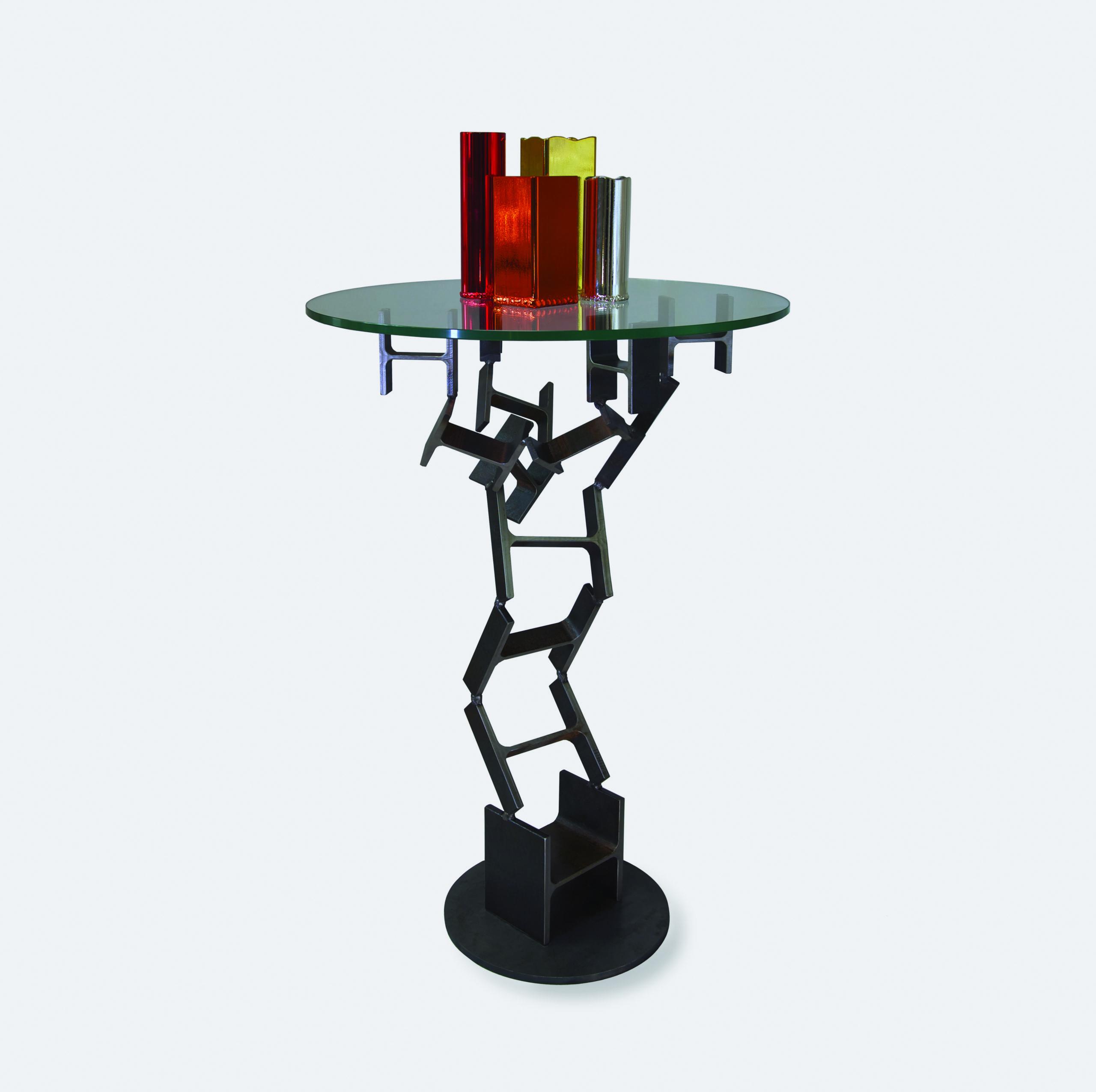 TULIPE - TABLE MANGE DEBOUT - GUÉRIDON OU TABLE HAUTE PLATEAU VERRE ET PIEDS ÉLÉMENTS IPN PERSONNALISABLE - AVEC VASES IPN CHROMÉS - MARQUE IPNOZE - MEUBLES EN IPN CRÉÉS PAR LIONEL PELLEGRINA